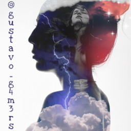abstract woman silhouette brunette evening clouds lightning freetoedit