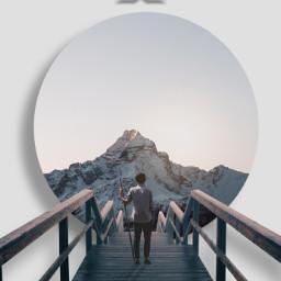 mountain circle bridge man backgroundgray freetoedit