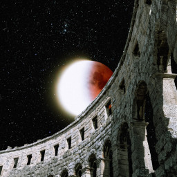 freetoedit unsplash nightsky moon stars redmoon sun ruins arch architecture building surreal collage