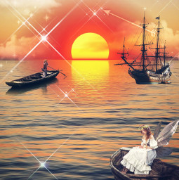 madeby creatorstephanie interesting ocean sunset clouds wings girl onboat boats ship replay freetoedit