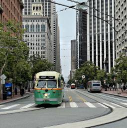 freetoedit sanfrancisco sf san francisco city megapolis marketstreet tram green travel moody