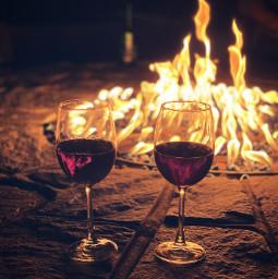 freetoedit wine firepit nighttime romantic