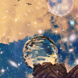 madeby creatorstephanie interesting crystalball clouds sky moon birds freetoedit
