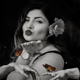 hands butterflies model portrait blowingkiss replay freetoedit rcrenaissancehands renaissancehands