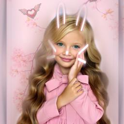 cute mask child girl pink cherry blossoms hearts wings blureffect editbyme freetoedit srccutemask cutemask