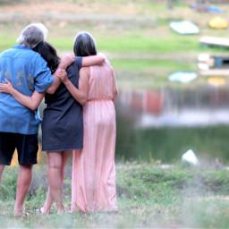 family portrait hug pond parentsandchild freetoedit
