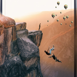 people falling cliff balloons sky editbyme ircelevating elevating