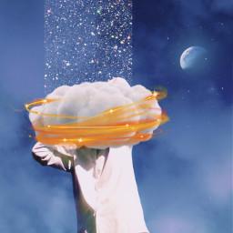 man clouds shine boy sky blue beautiful lights moon freetoedit