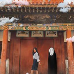 freetoedit mokaenkhbayar spiritedaway clouds collage surrealedit studioghibli ghibli temple reddoor red mongolia ulaanbaatar instagram