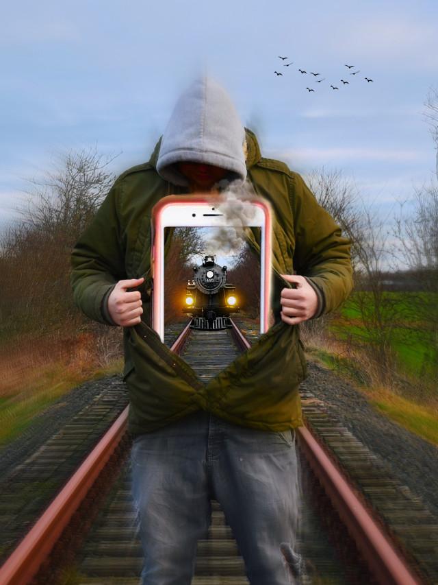 #vintagephonesstickerremixchallenge #speed #locamotive #train #man #hoodie #traintracks #headlights #iphone #focalzoomeffect ✨🚂🛤✨