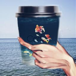 cтакан кофе рука море отдых вода пить рыбки coffee sea ircdesignthecup designthecup