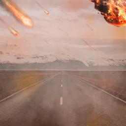freetoedit apocalypse meteor meteorshower distopia road idk fotoedit