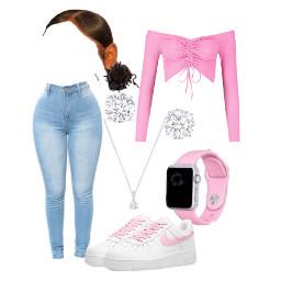 freetoedit cute pink simple style fashion trendy watch slickback jeans shirt