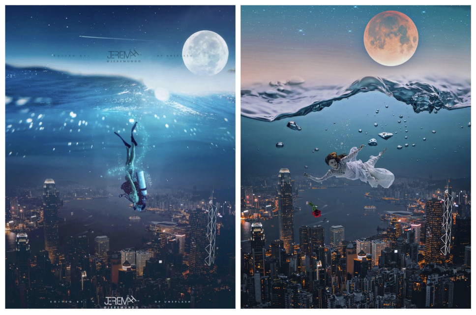 Underwater/Cityscape edit inspired by @jeremundo. Jeremiah's edit on the left; mine on the right. If you haven't checked out his amazing body of work yet, please do soon. It's fantastic!😊👍🏾  #Breathless #underwaterphotography #woman #redrose #cityscapes #nighttime #fullmoon #starrysky #ocean #water ✨🌊🌃🌕🌹✨