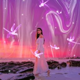 freetoedit heypicsart makeawesome picsart background pinkbackground pattern pink purple white beach girl model love share save remixit