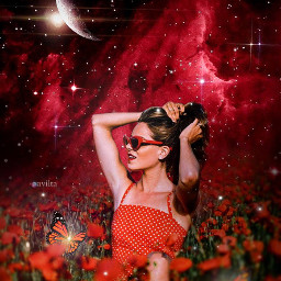 surreal surrealism surrealart redgalaxy redspace aestheticred redflowers field moon stars magic magical butterflies girl makeawesome heypicsart papicks picsart creative photoshop galaxy space galaxyedit magiceffect girly