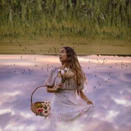 sky woman field purplesky heaven freetoedit