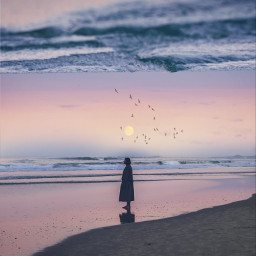doubleexposure sand beach sunset sky freetoedit