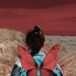 freetoedit red fairy girl trend sparkle redsky redaesthetic aesthetic glitter vibe outside interesting art summer photography sky people nature mountain weirdcore fairycore luciamoon