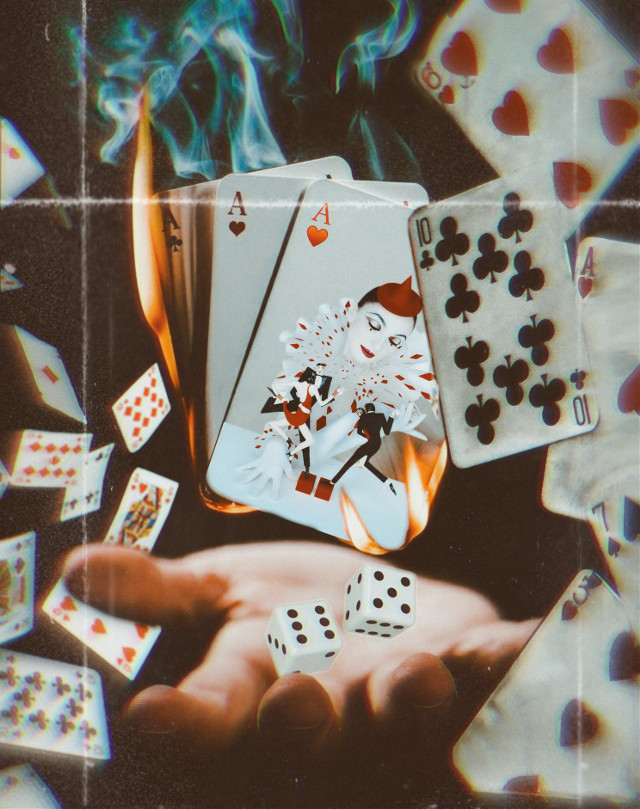 #ace #cards #jester #playingcards #game #dice #fire #burn #spades #hearts #clover #hand #magic