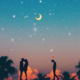 sunset love couple hearts freetoedit