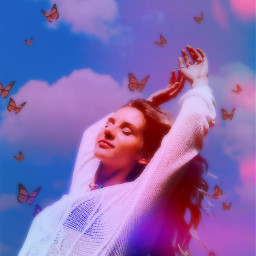 heypicsart makeawesome picsart model girl aesthetic blue background butterflies clouds mask love share save remixit ❤️❤️❤️ freetoedit