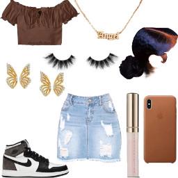 freetoedit brown cute skirt butterfly gold mocha angel trendy