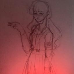 drawing sketch redlight dark light girl drawingofagirl skirt longhair pretty art wip unfinished dress