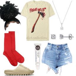 freetoedit collage redsocks fridaythe13th jeanshorts yeezyslides bun curlybun jewlery lipgloss