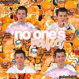 tomholland spiderman thomasstanleyholland tom holland orange complexedit complex edit collage marvel aesthetic orangeaesthetic clouds stars textoverlay zendaya mj peterparker peter parker