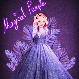 freetoedit magical purple challenge leaves purpleleaves aesthetic girl nice beautiful fairy sparkle glitter picsart dress purpledress floral floralbackground srcpurpletropics purpletropics