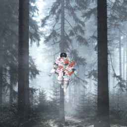 freetoedit yours_awesomeness surreal surreaart surrealism trees forest astronaut flowers fiction fantasy madewithpicsart spaceart spacedit myedit mycreativity