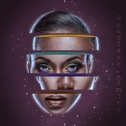 abstract face darkskin woman glow freetoedit