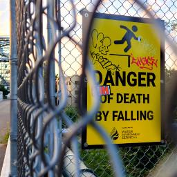 sign warning danger bridge graffiti fence chainlink enhanced freetoedit