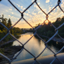 sunset bridgeview river chainlinkfence summer oregon freetoedit