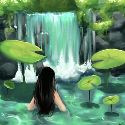 art lilypad pool waterfall rock bush blackhair nature drawing procreate procreatedrawing interesting sketch nolineart green blue pretty