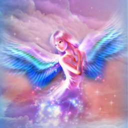 fantasyart makebelieve myimagination imagination becreative be_creative makeawesome fairy angel sky clouds starlight dreamy surreal surrealistic stickerart hdr vignette aesthetic colorful pastelcolors picsartmaster masteredit myedit madewithpicsart freetoedit