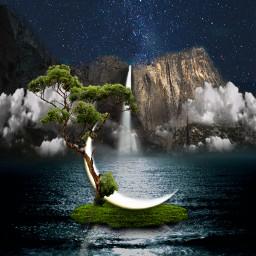whimsical wonderland night waterfall freetoedit unsplash