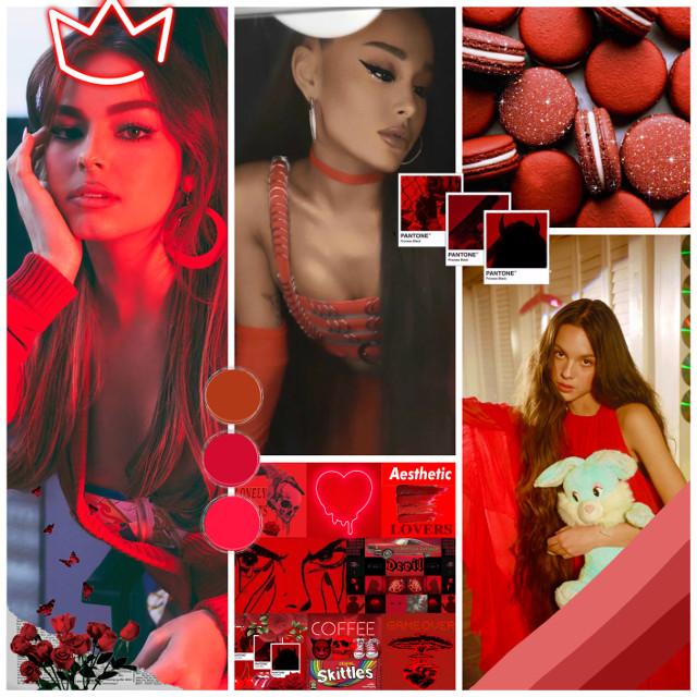 #addisonrae #arianagrande #oliviarodrigo #red #devil #redclothes #food #humans #people #collage #edit #crown #queen #flowers