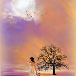 landscape scenery lakeside nightsky moonlight woman lamp lantern dreamy surreal surrealistic aesthetic picsarteffects makeawesome heypicsart picsartmaster masteredit myedit madewithpicsart freetoedit default