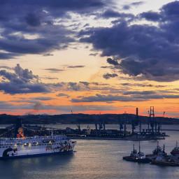 freetoedit sunset ship clouds landscape