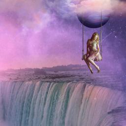 fantasyart makebelieve myimagination imagination becreative be_creative makeawesome waterfall woman swing dreamy surreal surrealistic stickerart heypicsart picsartmaster masteredit myedit madewithpicsart freetoedit default