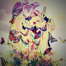 sadgirl butterflies cryimggul pinkclouds freetoedit