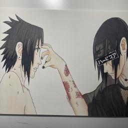 sasukeuchiha art drawing anime itachiuchhiha sasuke itachi naruto
