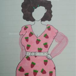 artbyquinn myart handdrawn drawing strawberrydress