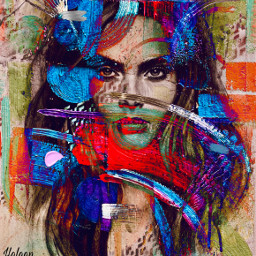 girl portrait faceart playingwithpicsart colorful paint abstract brushes interesting art playingwithpaint myedit myart mystyle diversity freetoedit
