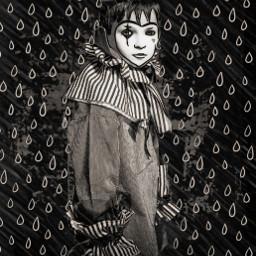 clown rain perriot child teardrop blackandwhite b&w cute urchin andypandy freetoedit b rcdoodleraindrops doodleraindrops