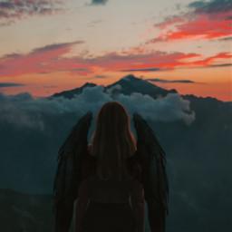 freetoedit lonely loneliness girl art mountain sky sunset moon wings up newedit edit myedit interesting