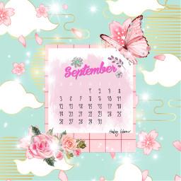 calendar freetoedit flower floral pink bluegreen aesthetic butterfly septembercalendar challenge shop local