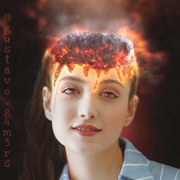 meteor head woman lava melted freetoedit
